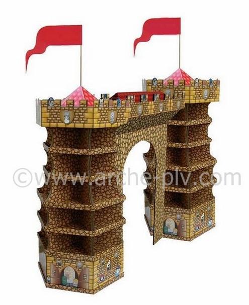 présentoir plv - arche publicitaire en forme de château-fort avec étagères et deux drapeaux