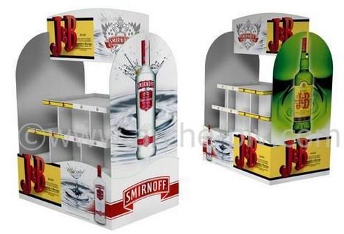 présentoir plv - bac à distribution de produits avec étagères et fronton décoré