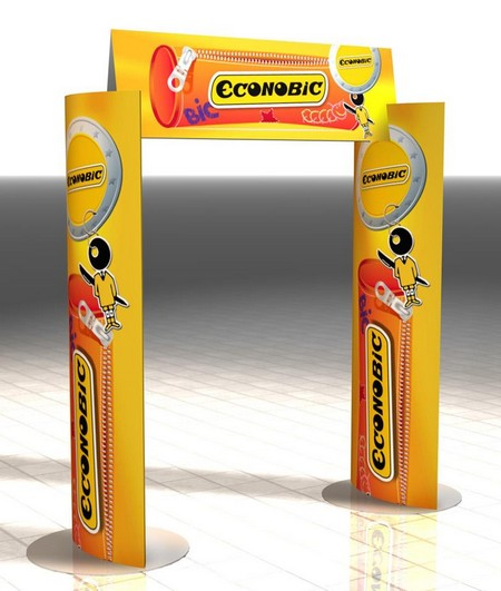 carton publicitaire - arche en carton avec colonnes elliptiques et fronton galbé